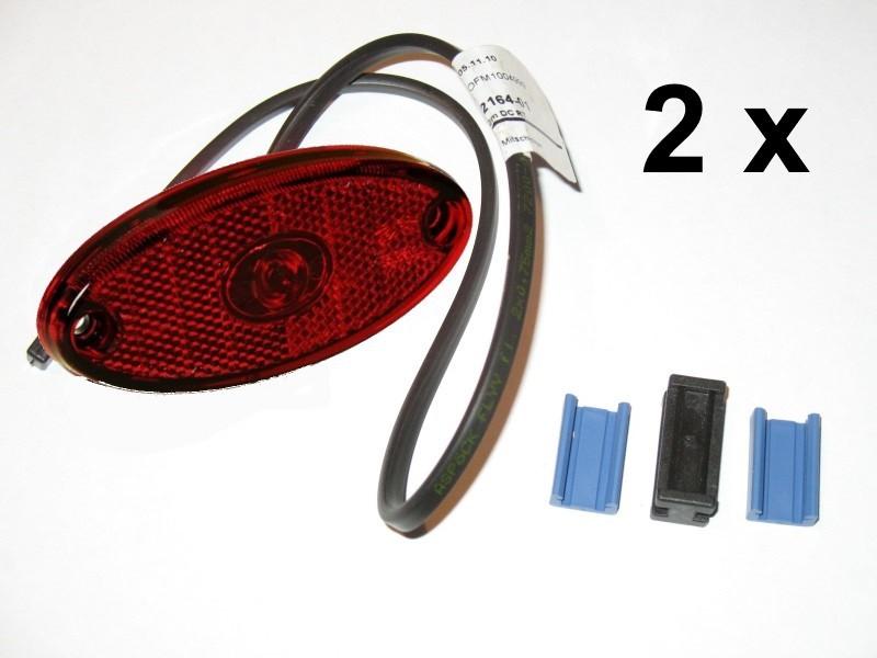 2 x Aspöck Flatpoint II Seitenmarkierungsleuchte LED ROT