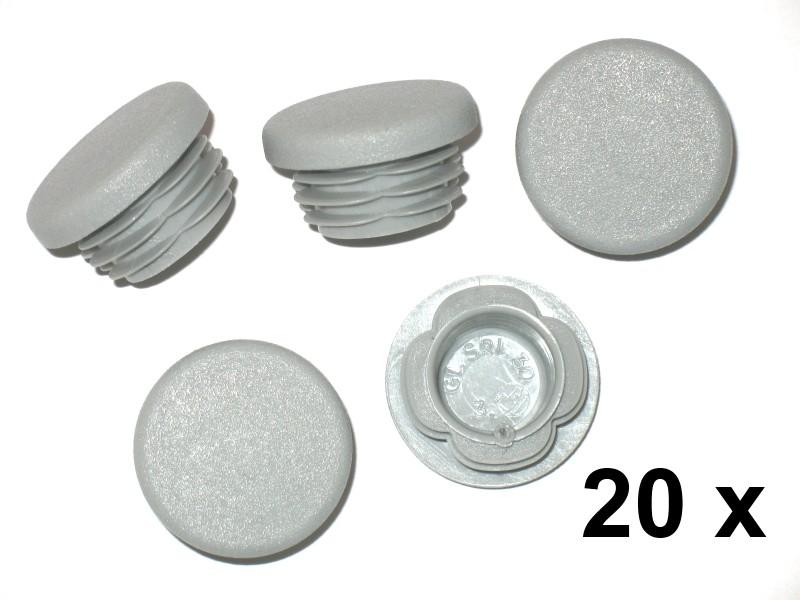 20 x lamellenstopfen rundrohrstopfen 30 mm au en stopfen grau kunststoffteile rundrohr. Black Bedroom Furniture Sets. Home Design Ideas
